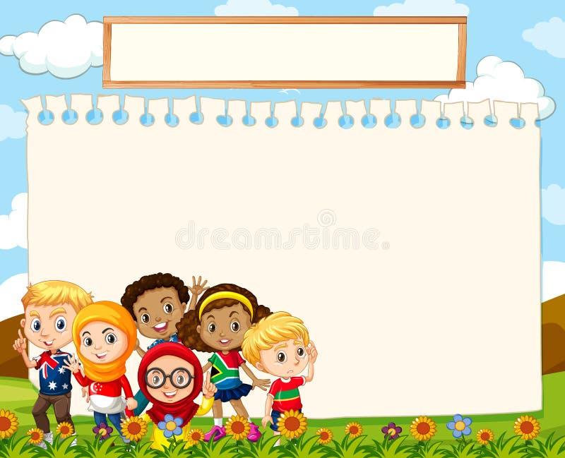 Molde vazio do sinal com as crianças na grama ilustração royalty free