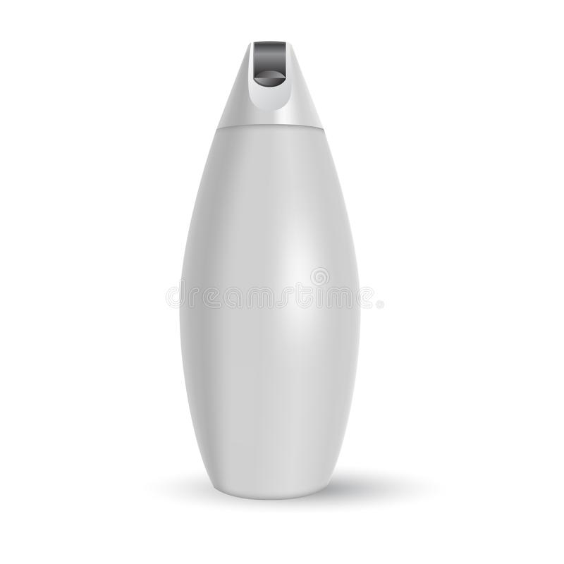 Molde vazio do vetor Modelo da garrafa plástica branca com tampão Recipiente 3d realístico para a loção do corpo, champô, leite p ilustração do vetor