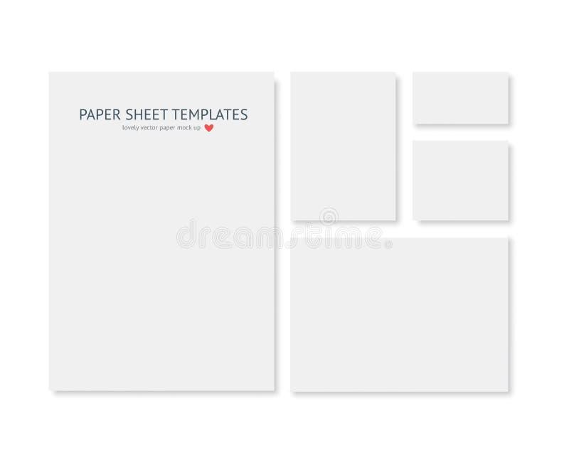 Molde vazio dos artigos de papelaria e da identidade corporativa Consista em tamanhos diferentes do papel realístico do vecto ilustração stock
