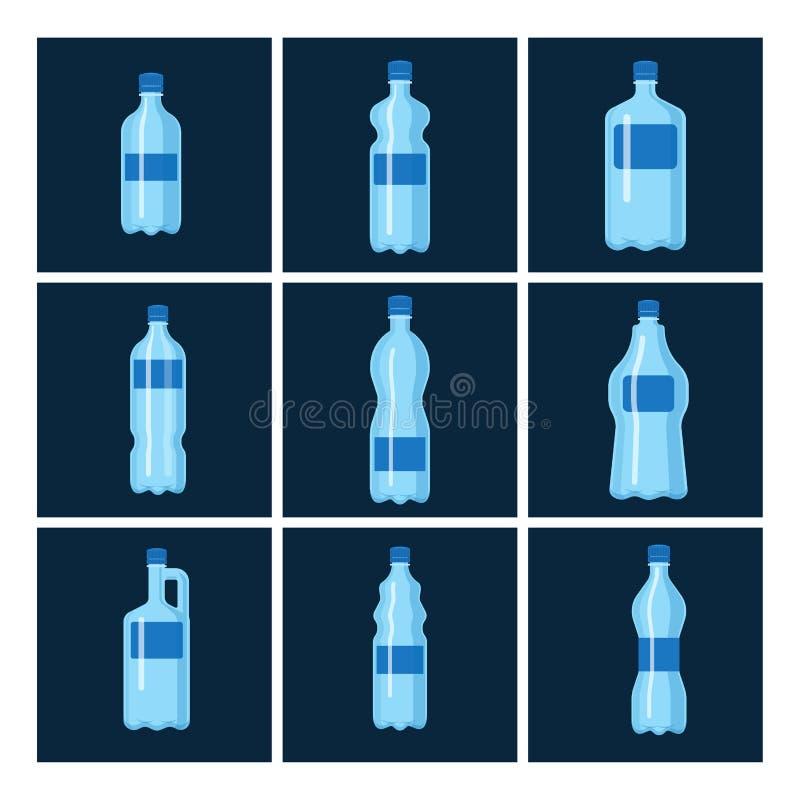 Molde vazio fluido da silhueta do molde do aqua líquido limpo azul plástico da natureza do folheto da placa do vetor da garrafa d ilustração do vetor