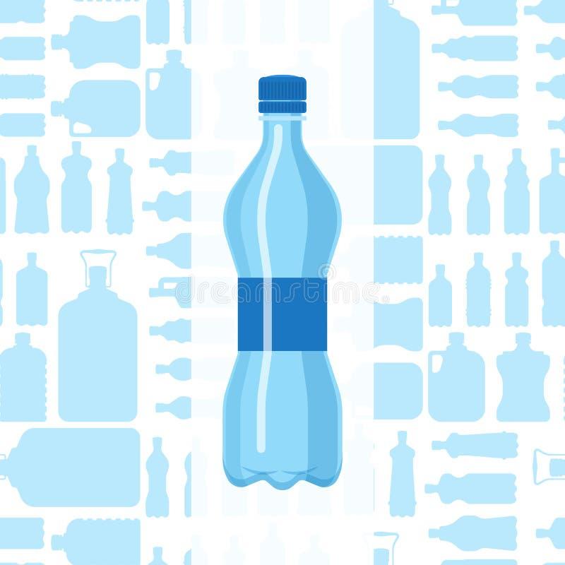 Molde vazio fluido da silhueta do molde do aqua líquido limpo azul plástico da natureza do folheto da placa do vetor da garrafa d ilustração stock