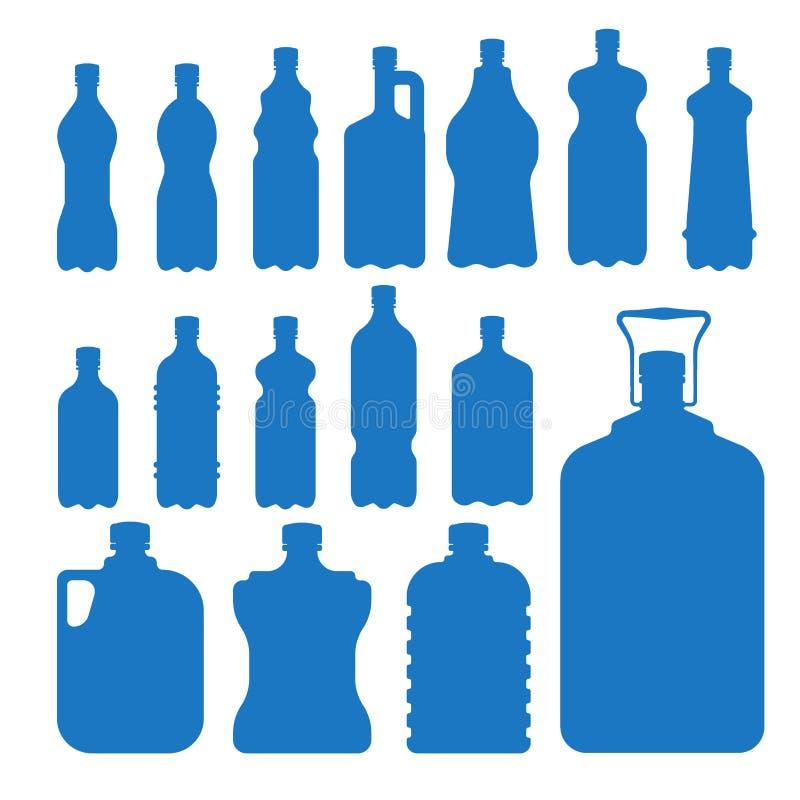 Molde vazio fluido da silhueta do molde do aqua líquido limpo azul plástico da silhueta da natureza da placa do vetor da garrafa  ilustração do vetor