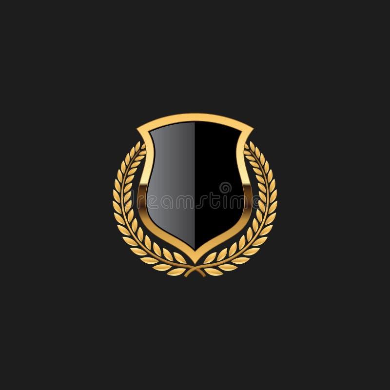 Molde vazio moderno original de Armor Luxury Gold Design Element da etiqueta da crista do protetor do crachá ilustração stock