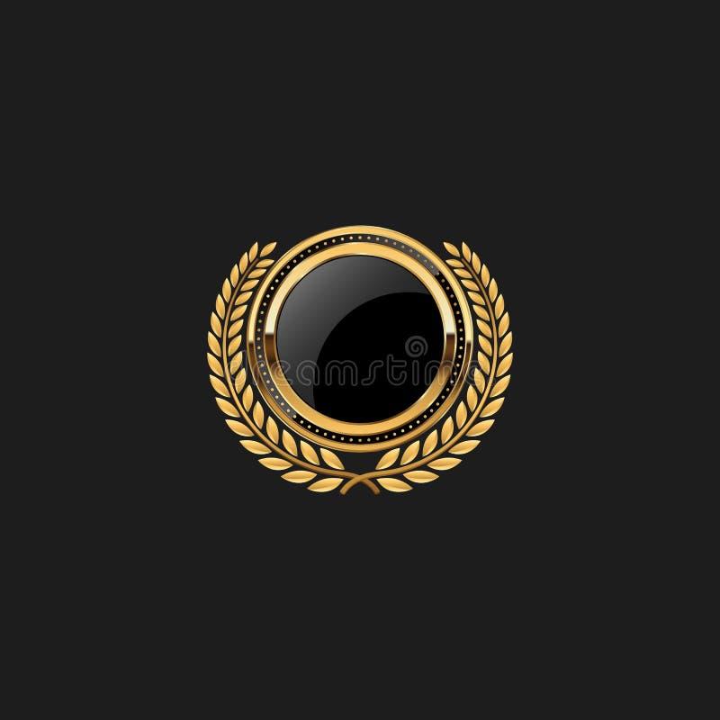 Molde vazio moderno original de Armor Luxury Gold Design Element da etiqueta da crista do protetor do crachá ilustração do vetor