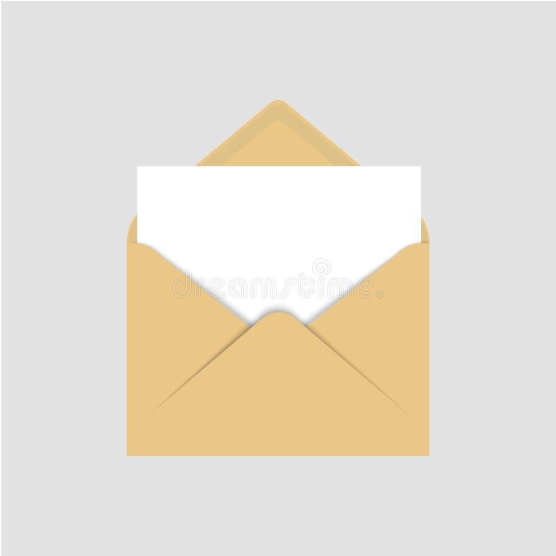Molde vazio realístico do envelope do papel marrom com a folha branca vazia Do vetor da ilustração da zombaria envelope aberto ac ilustração royalty free
