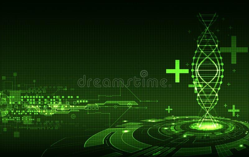 Molde verde da ciência, fundo das moléculas do ADN ilustração royalty free