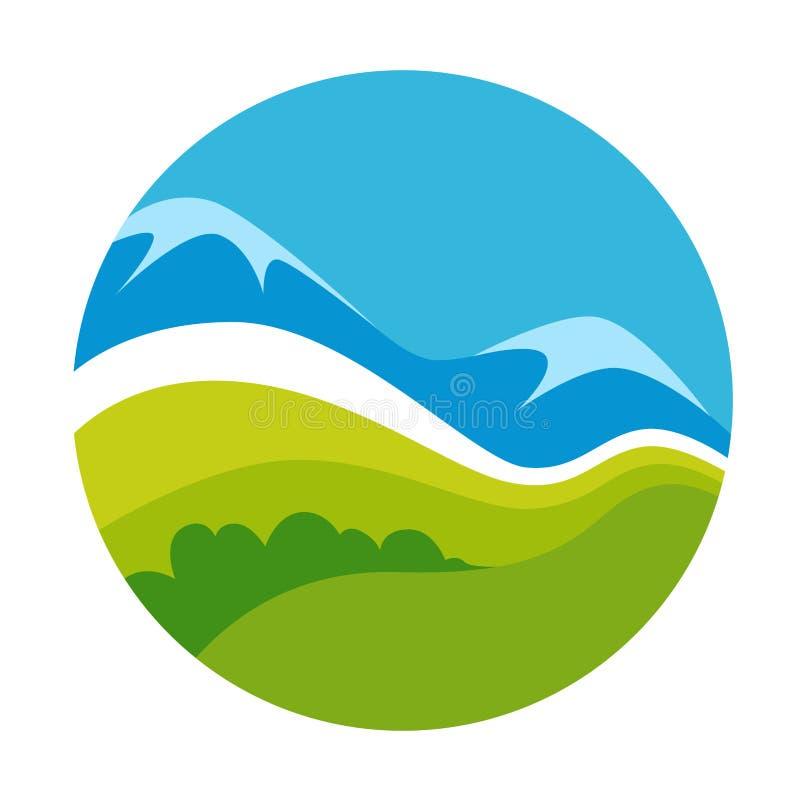 Molde verde do ícone do vetor da paisagem da natureza ilustração do vetor