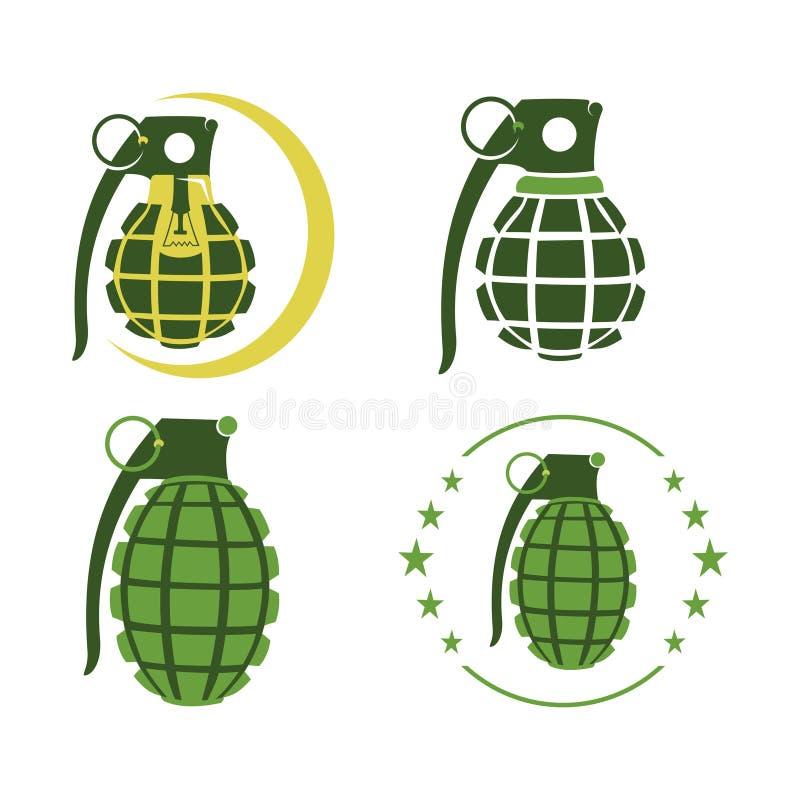 Molde verde do ícone do símbolo da ampola da lâmpada da granada ilustração do vetor