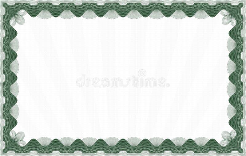 Molde verde do certificado ilustração stock