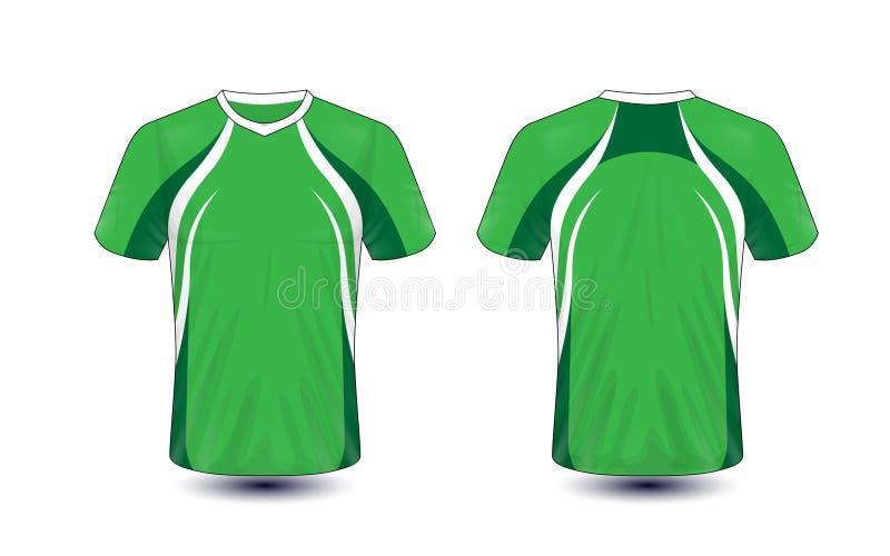 Molde verde e branco do projeto do t-shirt do e-esporte da disposição ilustração do vetor