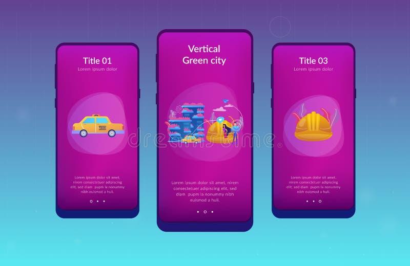 Molde verde vertical da relação do app da cidade ilustração do vetor