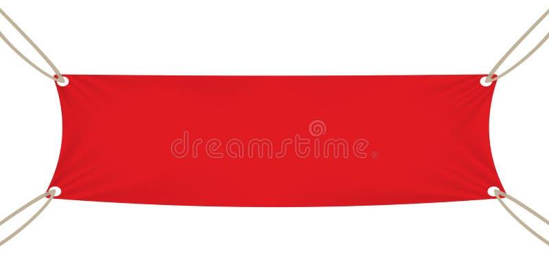 Molde vermelho da bandeira de matéria têxtil Ilustração do vetor ilustração stock