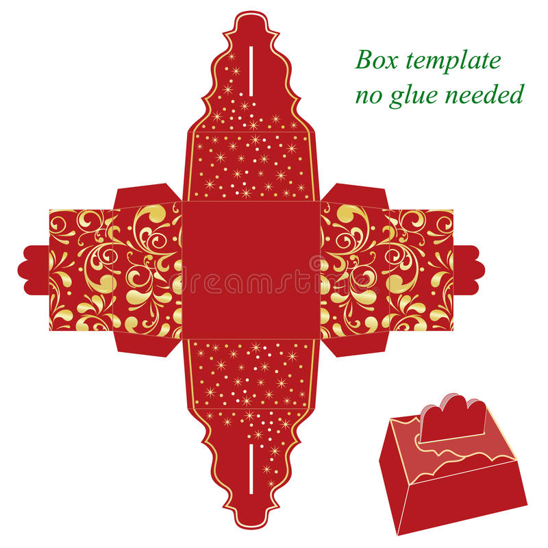 Molde vermelho da caixa de presente com teste padrão floral ilustração royalty free