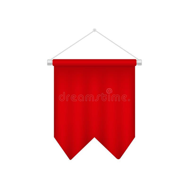 Molde vermelho da flâmula do futebol Bandeira realística do futebol 3D ilustração stock