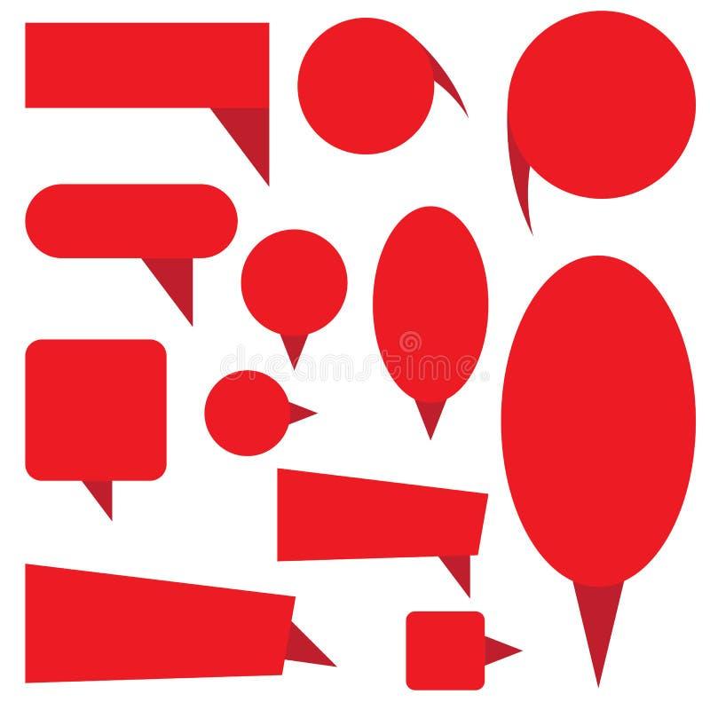 Molde vermelho das bandeiras do pop art isolado no fundo branco ilustração do vetor