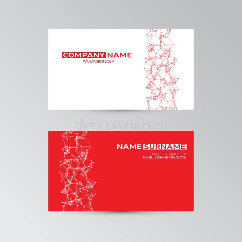 Molde vermelho do cartão com elementos abstratos ilustração do vetor