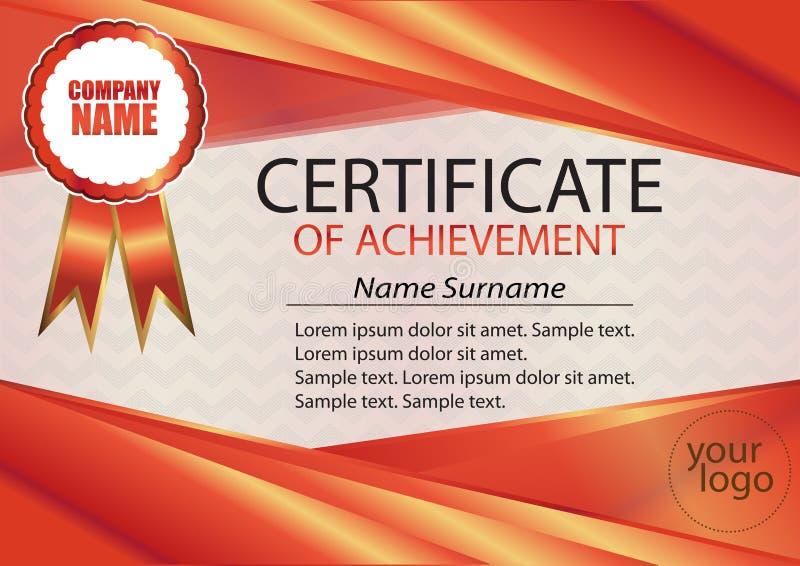 Molde vermelho do certificado ou do diploma Quadro vermelho O texto no sepa ilustração royalty free