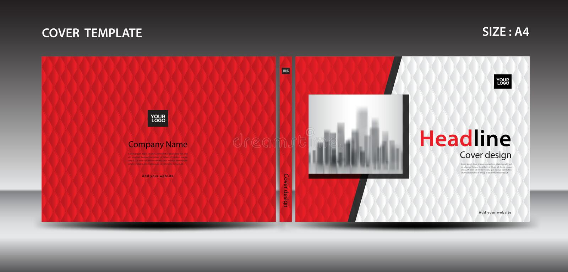 Molde vermelho do projeto da tampa para o compartimento, anúncios, apresentação, informe anual, livro, folheto, cartaz ilustração do vetor