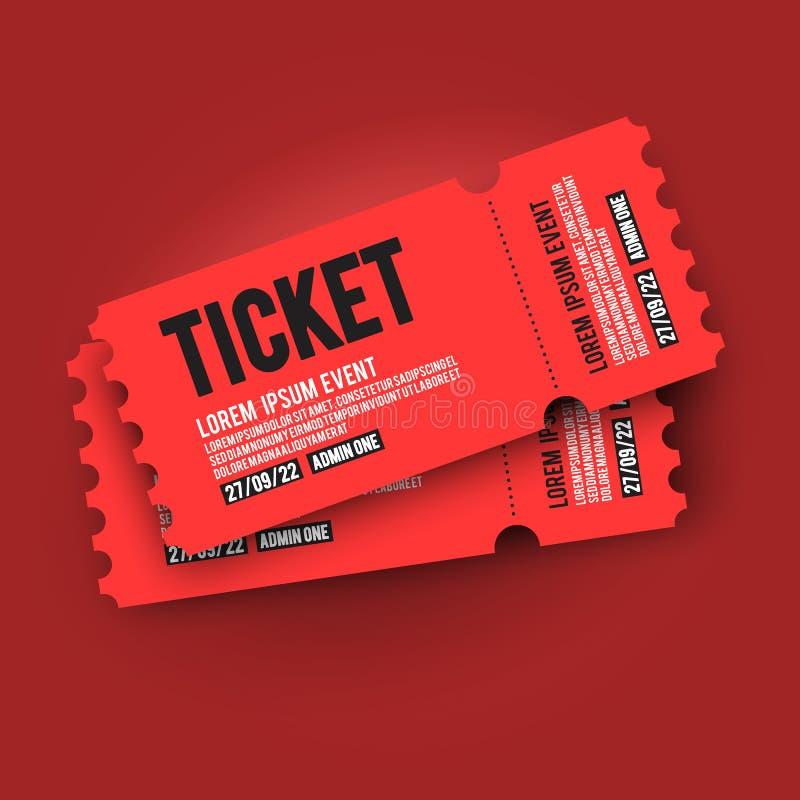 Molde vermelho do projeto do topo de bilhete da passagem da entrada do VIP da ilustração do vetor para o partido, festival, conce ilustração royalty free
