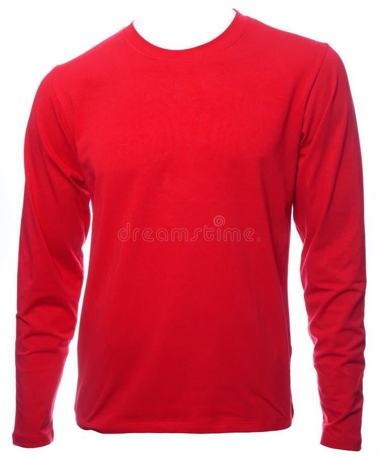 Molde vermelho do tshirt do algodão do longsleeve isolado fotos de stock