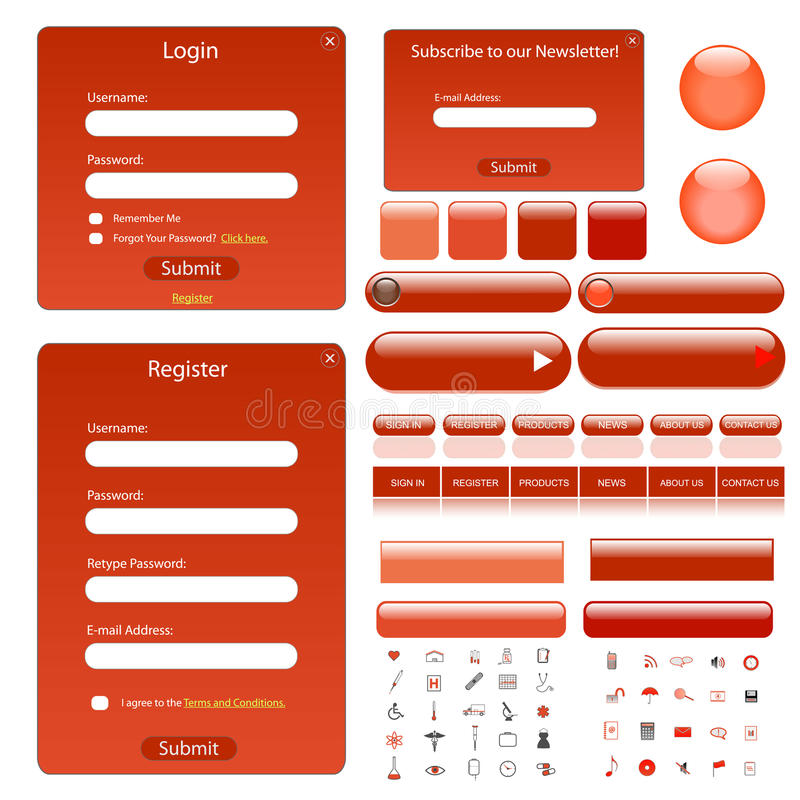 Molde vermelho do Web ilustração royalty free