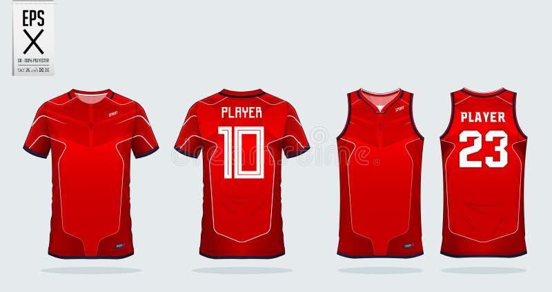 Molde vermelho e branco do projeto do esporte do t-shirt da listra para o jérsei de futebol, o jogo do futebol e a camiseta de al ilustração stock