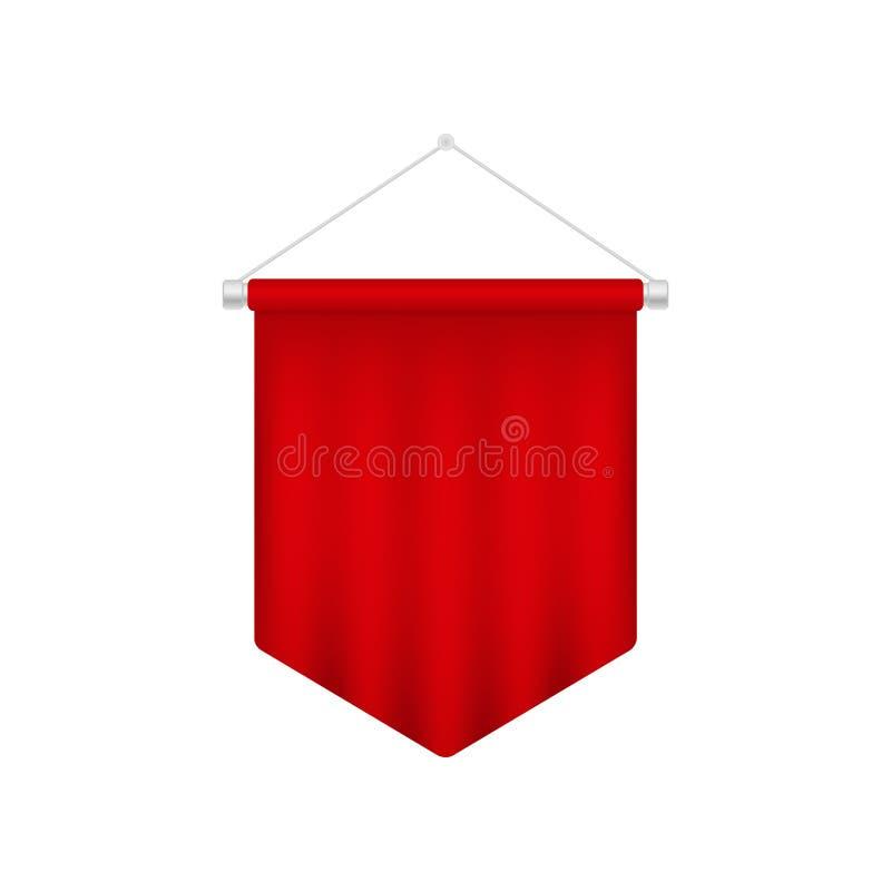 Molde vermelho realístico da flâmula Bandeira 3D vazia ilustração royalty free