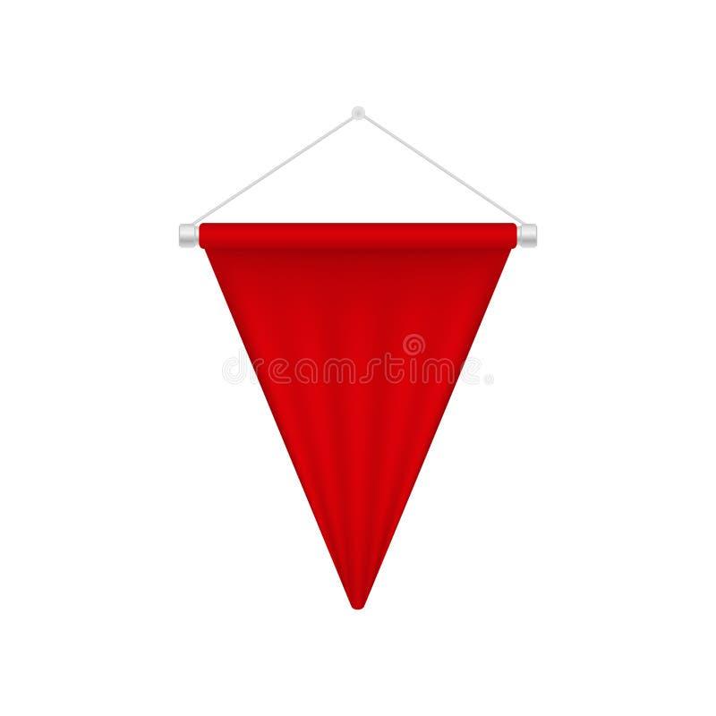 Molde vermelho realístico da flâmula Bandeira da placa do triângulo ilustração do vetor
