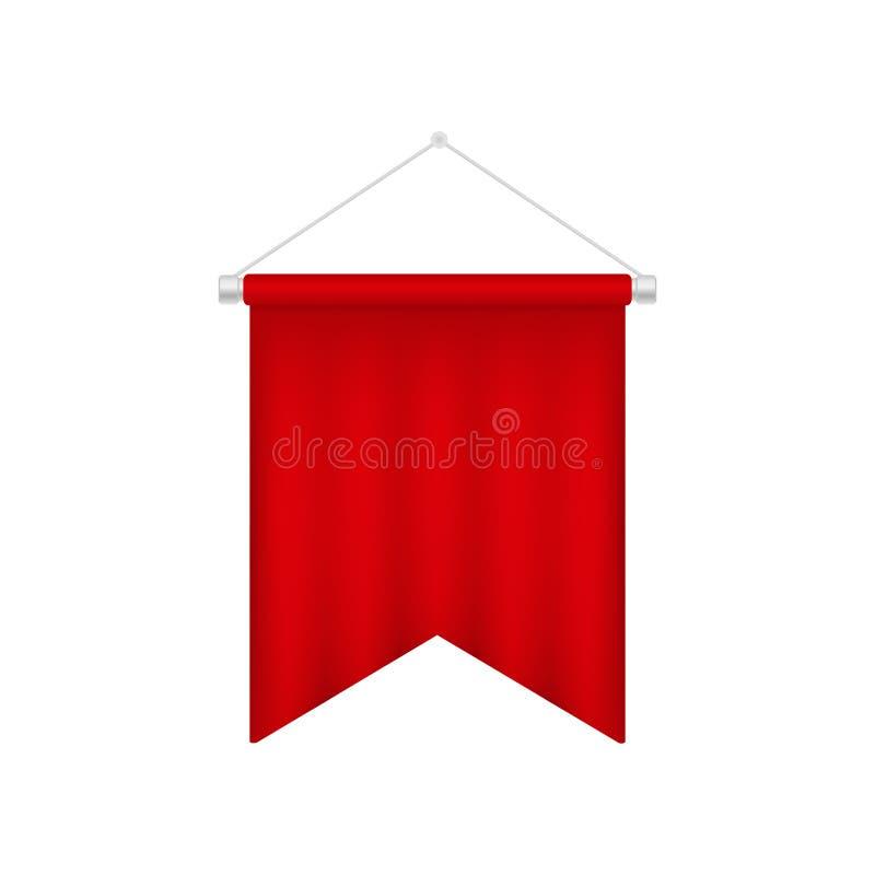 Molde vermelho vazio da flâmula Bandeira 3D realística ilustração royalty free