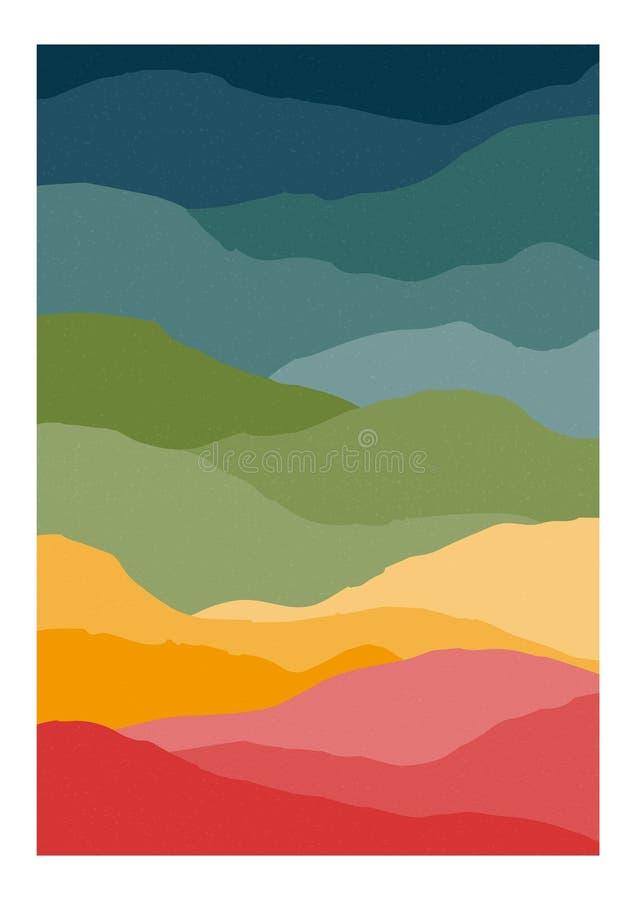 Molde vertical do fundo ou do cartão com ondas do sumário ou montes de cores do arco-íris Contexto colorido brilhante criativo ilustração royalty free
