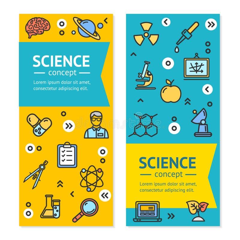 Molde vertical do grupo de cartão dos cartazes das bandeiras da pesquisa da ciência do vetor ilustração royalty free