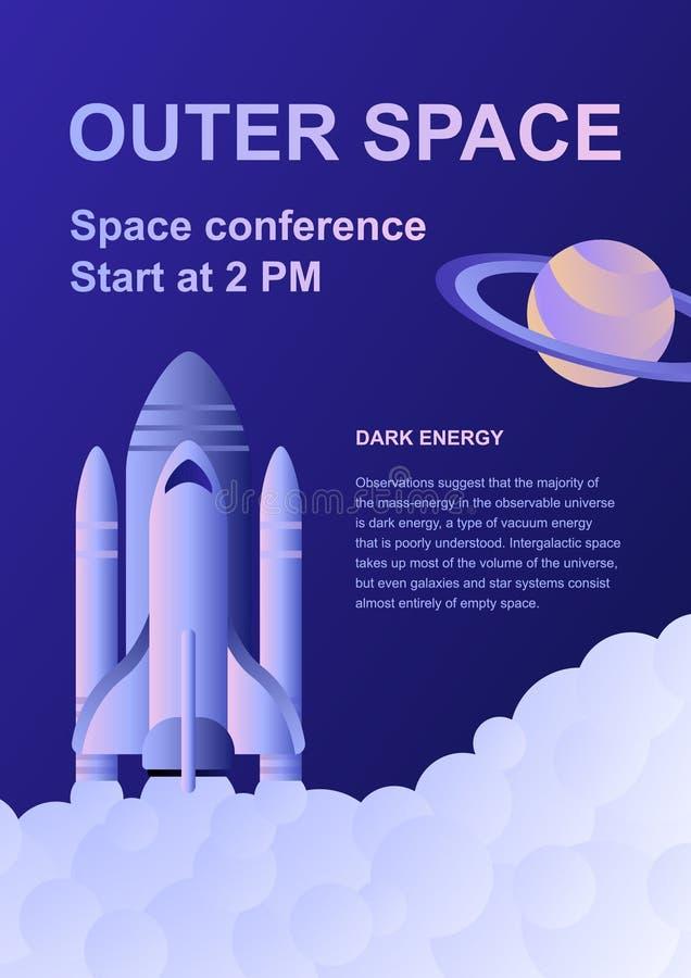Molde vertical do inseto da conferência da exploração do espaço com foguetes ilustração royalty free