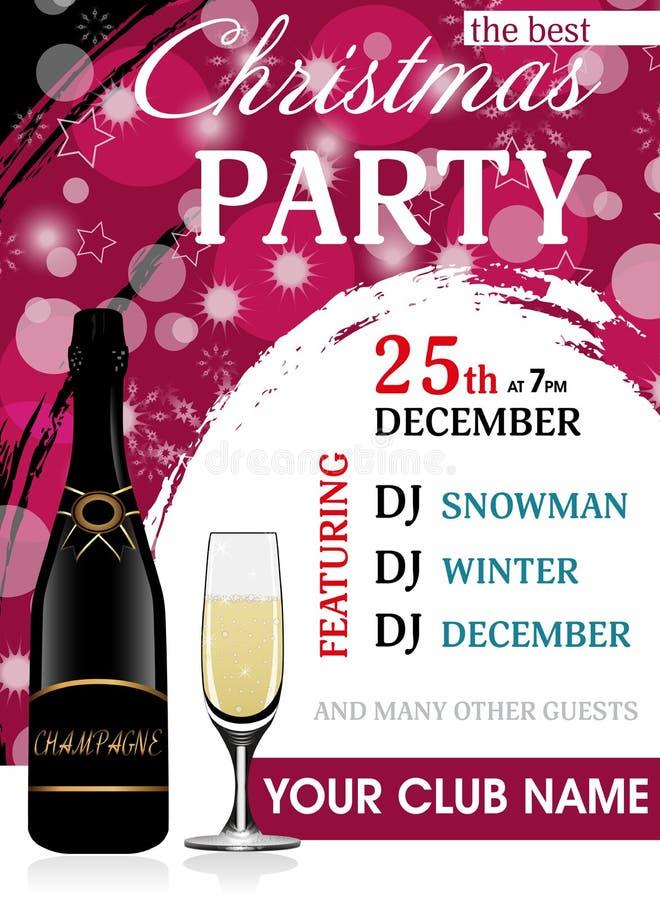 Molde vertical elegante do convite da festa de Natal com garrafa e copo de vinho do champanhe Fundo do ano novo Vetor ilustração stock