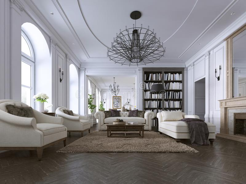 Moldeados clásicos de la sala de estar, del revestimiento de madera y del techo sobre un suelo de parqué de la raspa de arenque e ilustración del vector