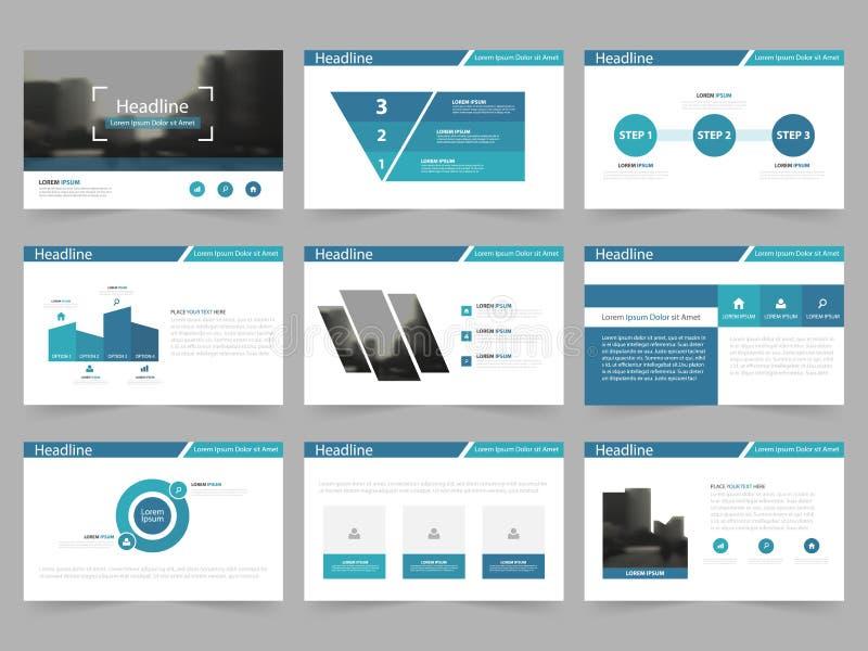 Moldes abstratos azuis da apresentação, projeto liso do molde dos elementos de Infographic ilustração royalty free