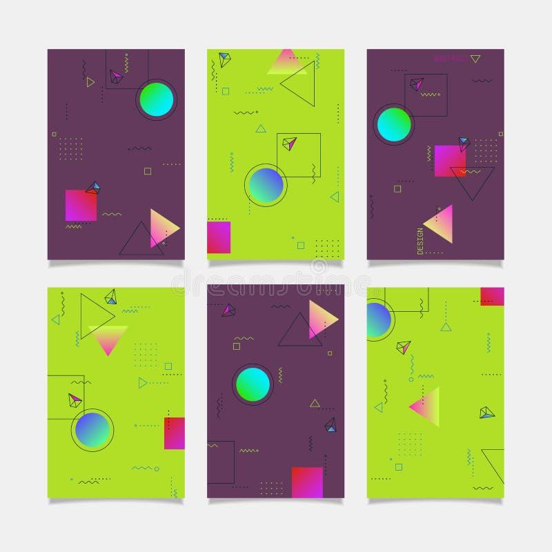 Moldes abstratos das bandeiras do projeto geométrico do vetor ilustração do vetor