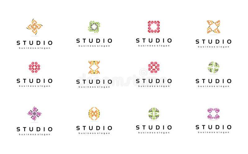 Moldes abstratos do logotipo ajustados coleção Símbolos da tecnologia foto de stock royalty free