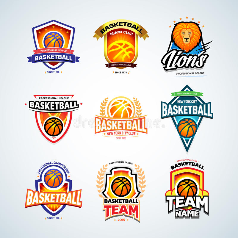 Moldes ajustados, coleção do logotipo do basquetebol do logotype do basquetebol, moldes do projeto do logotipo do crachá, moldes  ilustração do vetor