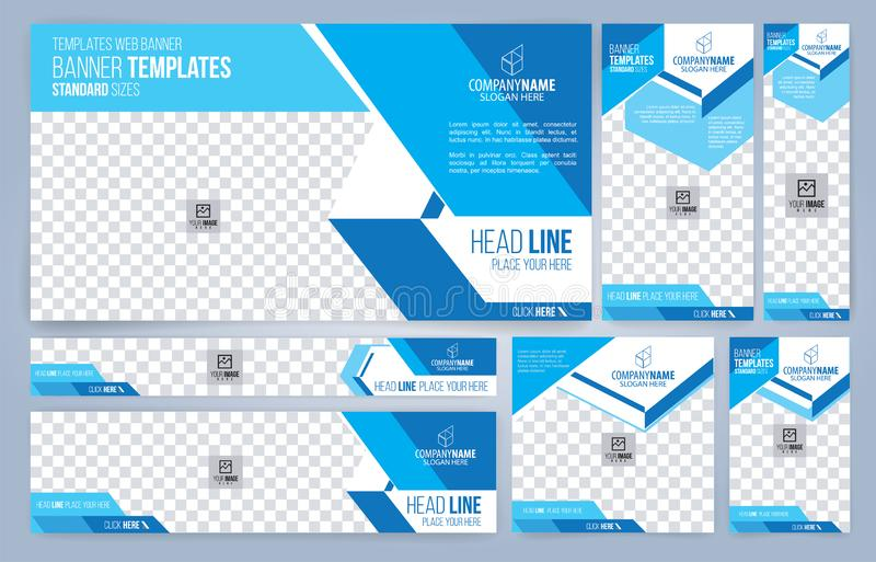 Moldes azuis e brancos das bandeiras da Web, tamanhos padrão com espaço para a foto ilustração royalty free