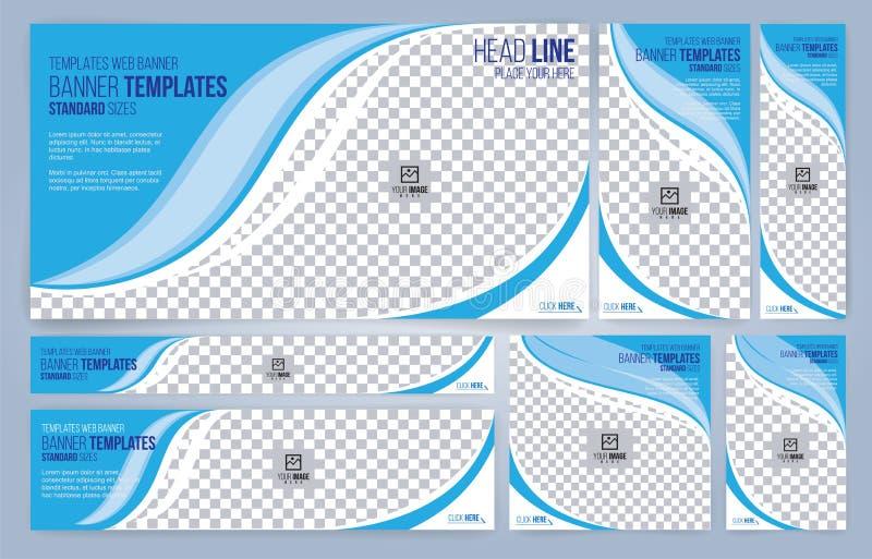 Moldes azuis e brancos das bandeiras da Web, tamanhos padrão com espaço para a foto ilustração do vetor