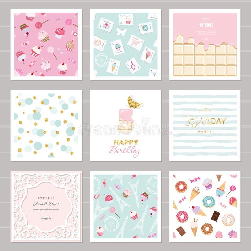 Moldes bonitos do cartão ajustados para meninas Incluindo quadros, testes padrões sem emenda com doces ilustração stock