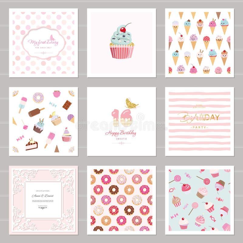 Moldes bonitos do cartão ajustados para meninas Incluindo quadros, testes padrões sem emenda com doces aniversário, casamento, sh ilustração do vetor