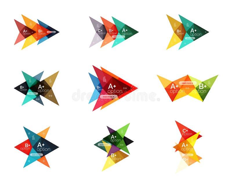 Moldes coloridos da seta da bandeira da opção do vetor, disposições infographic ilustração royalty free