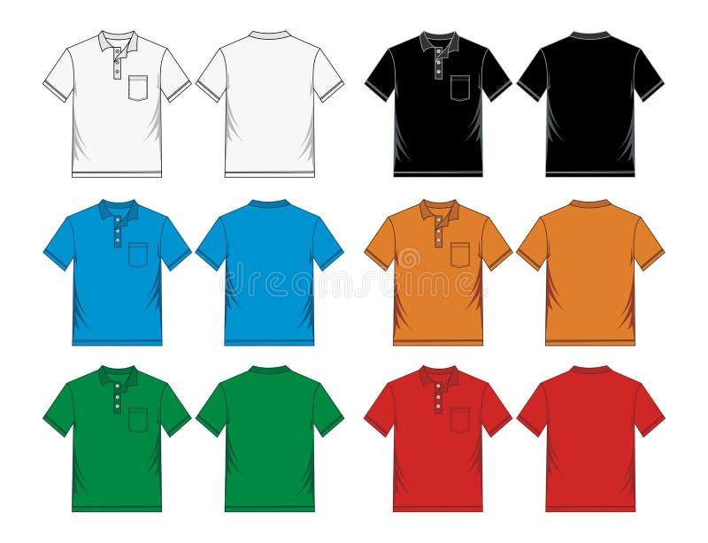 Moldes coloridos do polo de Men's ilustração stock
