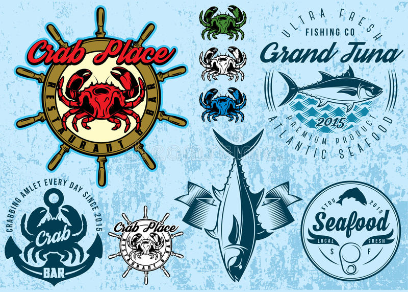 Moldes com caranguejo e atum para o marisco da embalagem do projeto ilustração royalty free