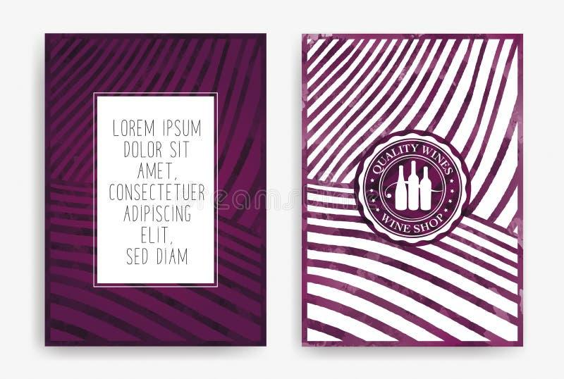 Moldes com projetos do vinho Tiragem das fileiras dos vinhedos com manchas do vinho Folhetos, cartazes, cartões do convite, relat ilustração stock