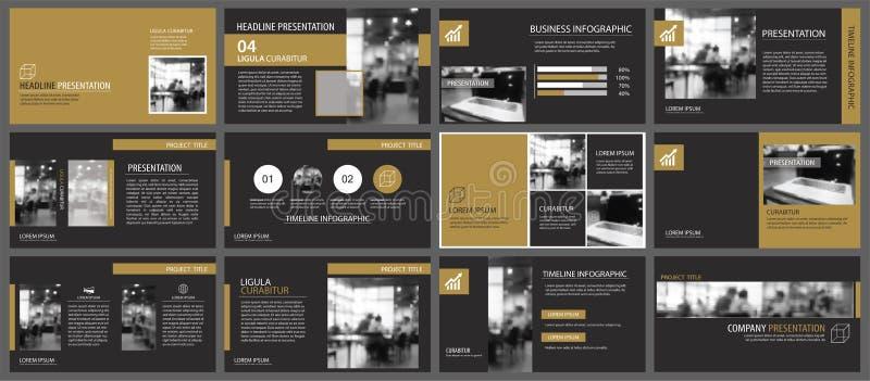 Moldes da apresentação do ouro e fundo pretos dos elementos do infographics Uso para o informe anual do negócio, inseto, mercado  ilustração royalty free
