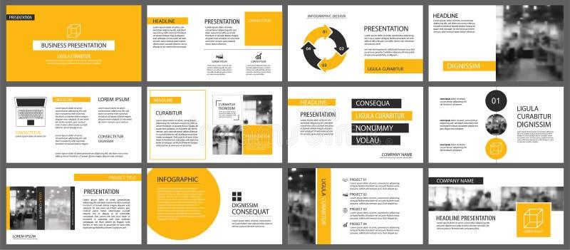 Moldes da apresentação e backgrou amarelos dos elementos do infographics ilustração stock