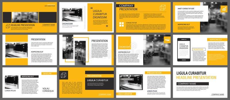 Moldes da apresentação e backgrou amarelos dos elementos do infographics ilustração do vetor