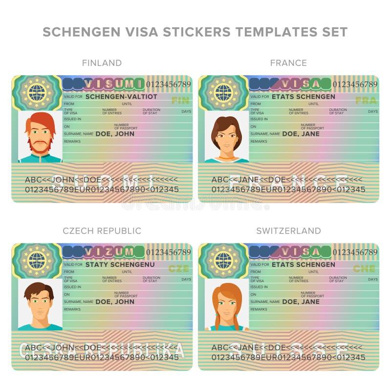 Moldes da etiqueta do passaporte do visto de Schengen para Finlandia, França, República Checa, grupo de Suíça ilustração royalty free